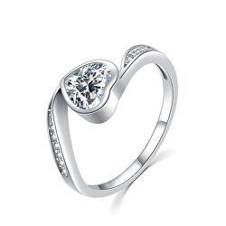 Gyengéd ezüst gyűrű cirkónium kövekkel Szív R00021