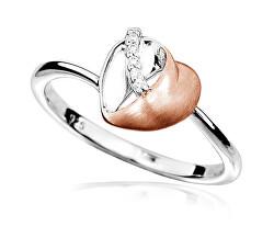 Okouzlující bicolor prsten se zirkony Srdce R00009