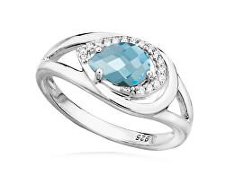 Bájos ezüst gyűrű topázzal és cirkónium kövekkel RG0000