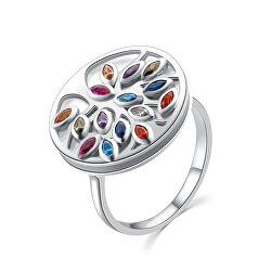 Eredeti ezüst gyűrű színes cirkónium kövekkel R00021