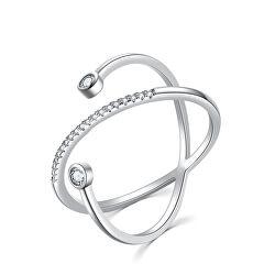 Originální stříbrný prsten se zirkony R00020