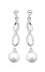Pôvabné strieborné náušnice s pravými riečnymi perlami EP000160