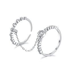 Bámulatos dupla ezüst gyűrű cirkónium kövekkel R00022