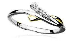 Půvabný stříbrný bicolor prsten se zirkony R0000