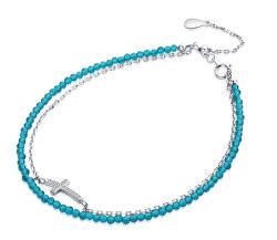 Stylový náramek s modrými korálky a křížkem B0000434