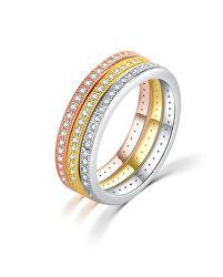 Tricolor ezüst gyűrű szett cirkónium kövekkel R00020
