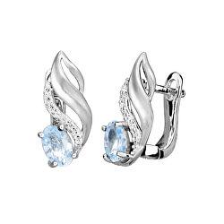 Třpytivé stříbrné náušnice s modrými topazy EG000080