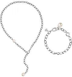 Exkluzivní ocelová sada šperků s perlami Oriente SARI16 (multifunkční náhrdelník + náramek)
