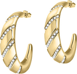 Luxus aranyozott fülbevalók kristályokkal, Cerchi SAKM67