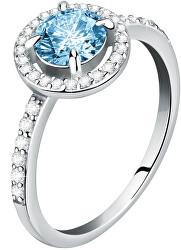 Něžný stříbrný prsten s akvamarínem a krystaly Tesori SAIW9701