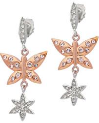 Ocelové bicolor náušnice s motýlky Natura SAHL04