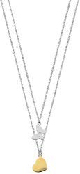 Oceľový náhrdelník s motýlikom a srdiečkom SAHM04