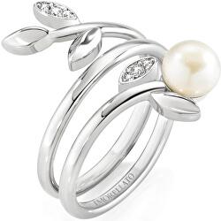 Ocelový prsten s perlou Gioia SAER26