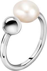 Ocelový prsten s pravou perlou Oriente SARI15