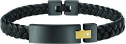 Pánský černý kožený náramek Moody SQH19