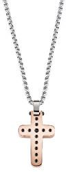 Pánsky oceľový bicolor náhrdelník s krížom Cross SKR30