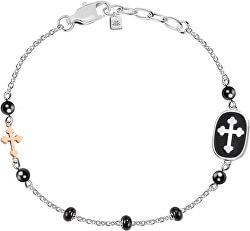 Pánsky oceľový náramok s krížikom God SANF16