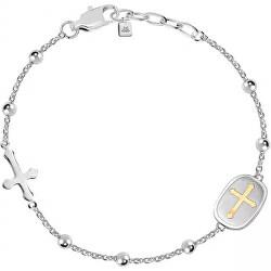 Bratara de otel pentru barbati cu cruce Dumnezeu SANF18