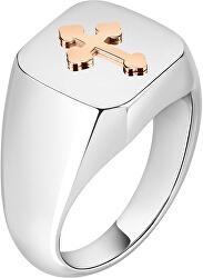 Pánský ocelový prsten s křížkem God SANF21
