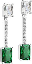 Strieborné náušnice so zelenými kryštály Tesoro SAIW56