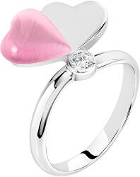 Romantický strieborný prsteň s mačacím okom Cuore SASM12