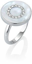 Strieborný prsteň s perleťou a kryštály Perfetti SALX09