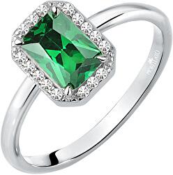 Trblietavý strieborný prsteň so zeleným kamienkom Tesoro SAIW76
