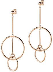 Výrazné růžově pozlacené ocelové náušnice Cerchi SAKM13