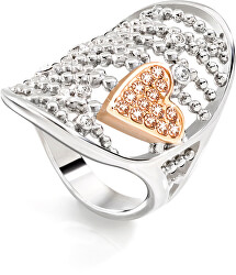 Oceľový bicolor prsteň Cuoremio SADA09