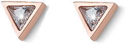Bronzové náušnice kôstky so zirkónmi Swarovski Three 22920RG