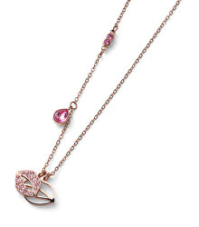 Bronzový náhrdelník s krystaly Swarovski Kiss Rose 12151RG