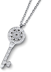 Originální náhrdelník Klíč s čirými zirkony Swarovski Unlock 12159
