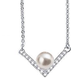 Elegantný náhrdelník s perlou a kryštály Swarovski Point Pearl 12160