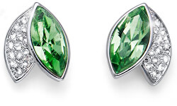 Elegantní náušnice se zelenými krystaly Leaf 22686 MUL