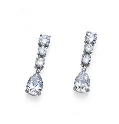 Jemné stříbrné náušnice s krystaly Genuine Drop 62122