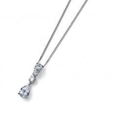 Jemný stříbrný náhrdelník s krystaly Genuine Drop 61184 (řetízek, přívěsek)