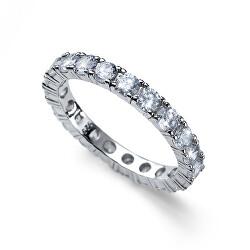 Jemný stříbrný prsten s krystaly Classic 63259