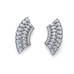 Luxusní stříbrné náušnice s krystaly Cleo 62124