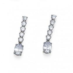 Nadčasové stříbrné náušnice s krystaly Genuine Oval 62121