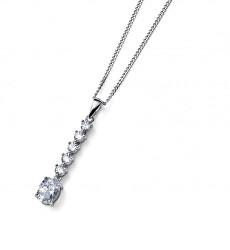 Nadčasový stříbrný náhrdelník s krystaly Genuine Oval 61183 (řetízek, přívěsek)