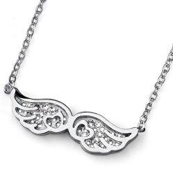 Oceľový náhrdelník s čírymi kryštálmi Flyheart 11775