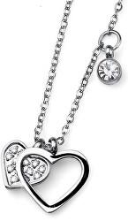 Oceľový náhrdelník so srdiečkami Amo 11772