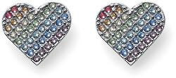 Pestrobarevné srdíčkové náušnice Rainbow Love 22838