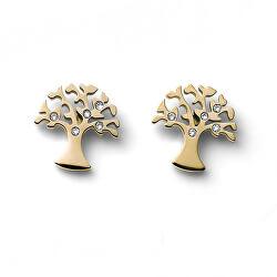 Pozlátené náušnice kôstky Strom života Flourish 22913G