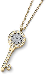 Pozlacený náhrdelník Klíč s čirými zirkony Swarovski Unlock 12159G