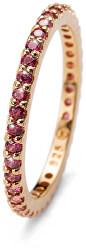 Pozlacený stříbrný prsten s červenými krystaly Jolie 63225G RED