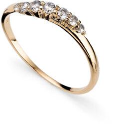 Pozlacený stříbrný prsten s krystaly Petite 63227G