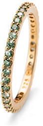Pozlacený stříbrný prsten se zelenými krystaly Jolie 63225G GRE