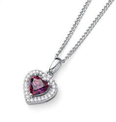 Romantický strieborný náhrdelník Srdce sa zirkónmi Swarovski Forever 61164 FUX (retiazka, prívesok)