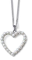 Romantický stříbrný náhrdelník Srdce z perel Dive Pearl 61172 (řetízek, přívěsek)